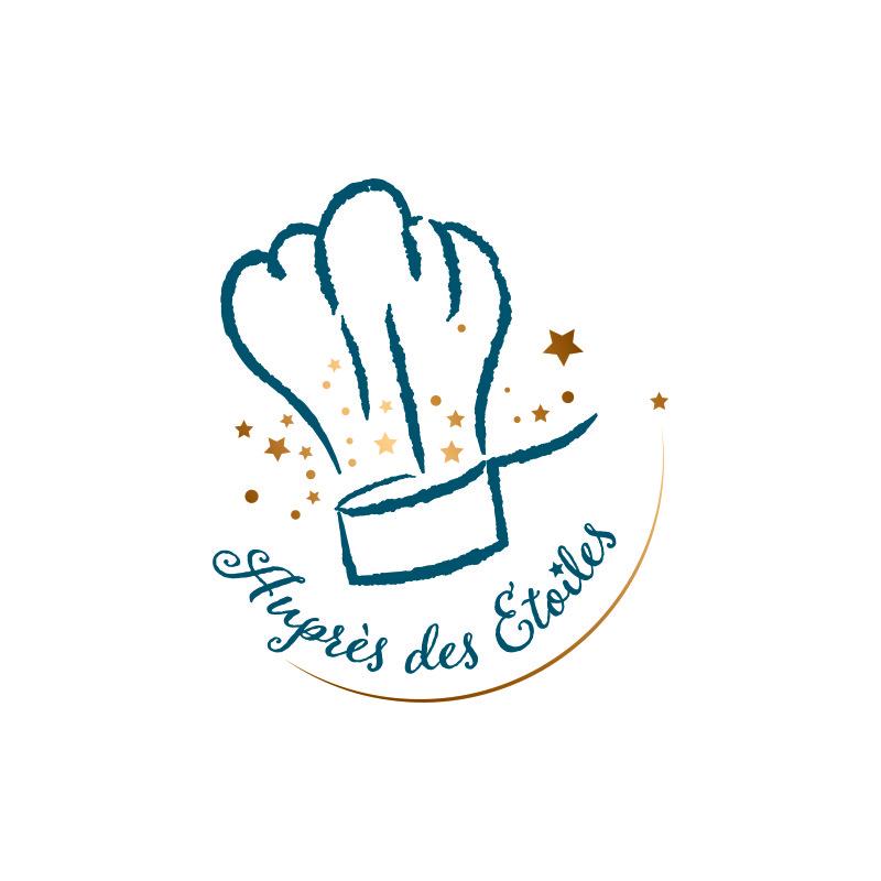 Création d'un logo à Mâcon. Logo pour la marque Auprès des 2toiles vantant le savoir-faire local. Toque de cuisinier avec une casserole et des étoiles.