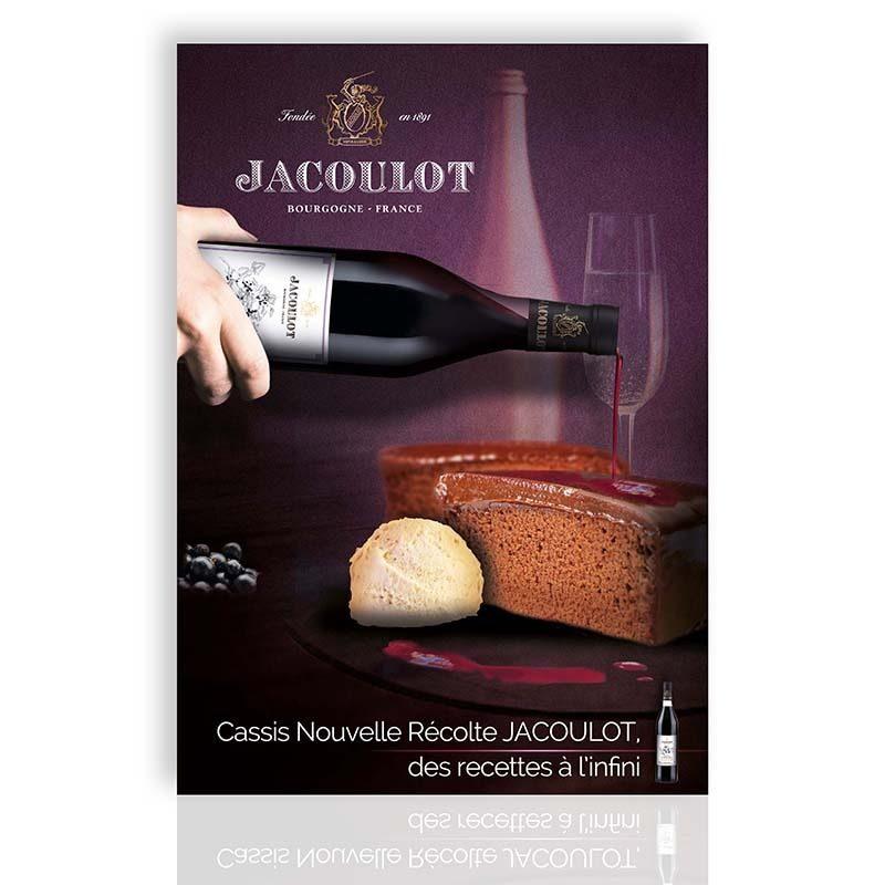 Affiche publicitaire réalisée pour les liqueurs Jacoulot. Affiche représentant un gâteau recouvert de liqueur.