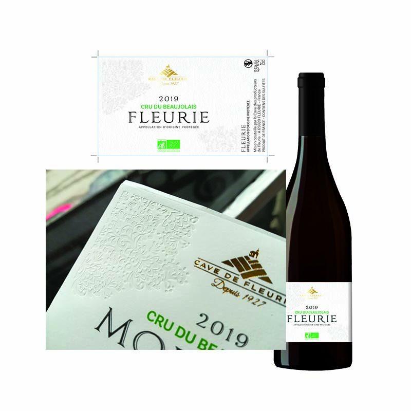 Présentation de l'étiquette et des bouteilles des vins de la cave de Fleurie