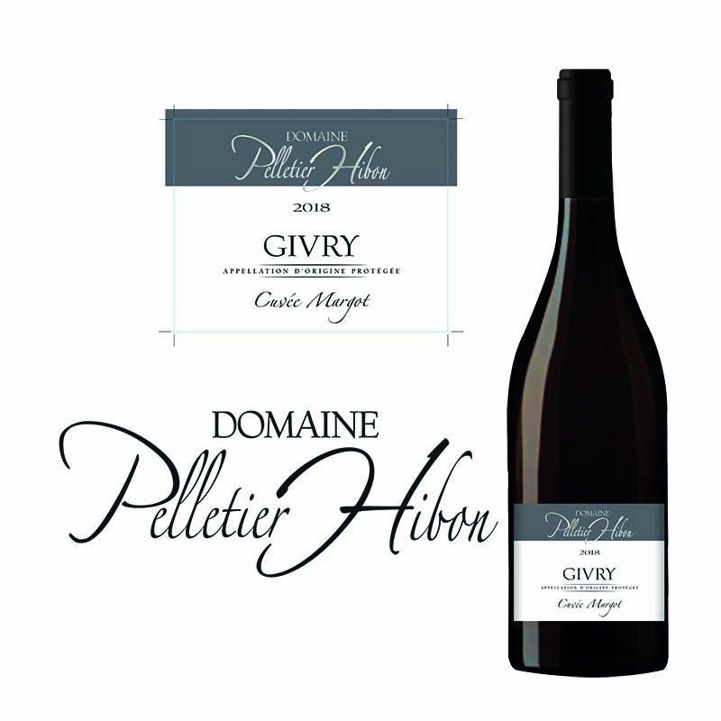 Etiquette de vin Givry du domaine Pelletier Hibon, et présentations ur la bouteille.