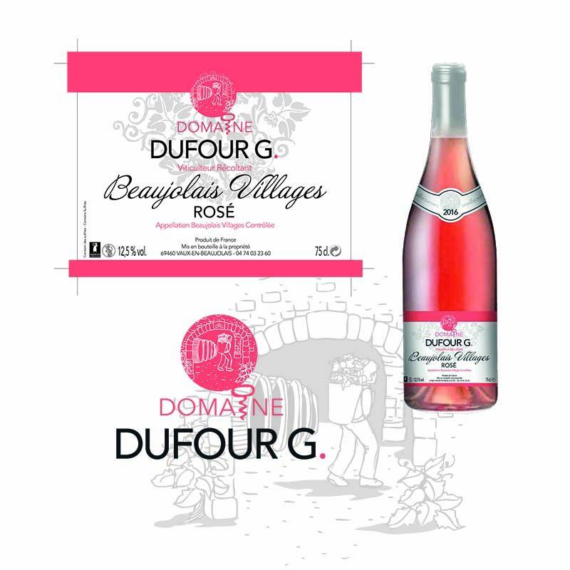 Etiquette de vin rosé pour le domaine Dufour G, réalisée à Mâcon