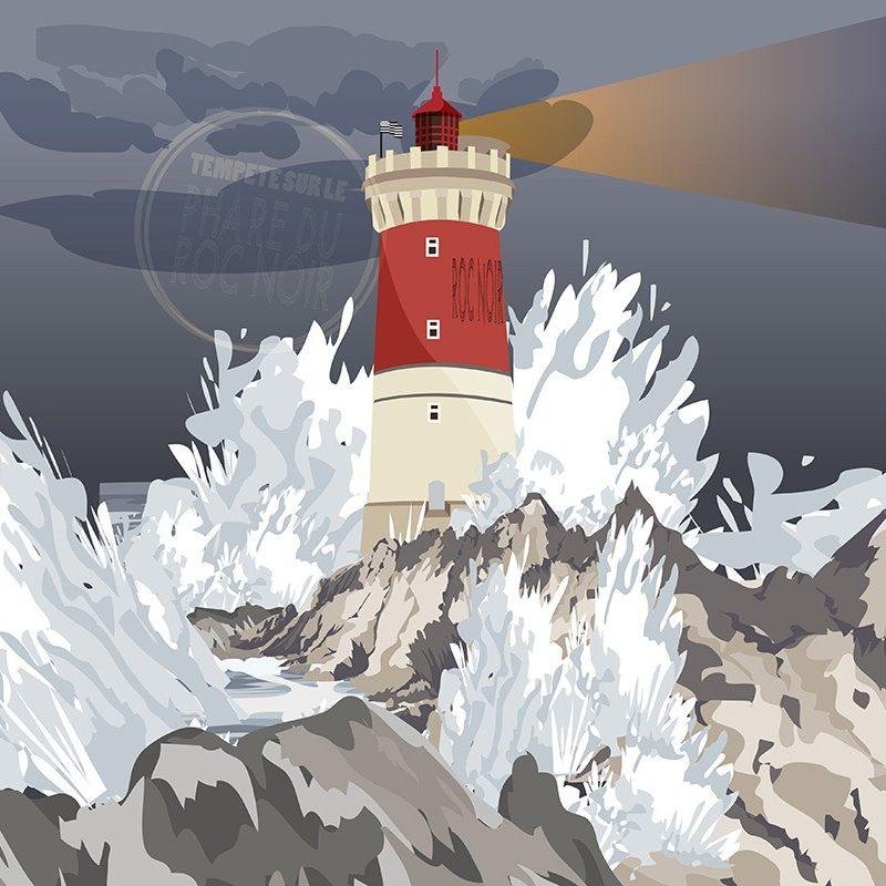 Réalisation d'une illustration vectorielle phare de Bretagne par l'agence Le P'tit Zèbre Communication à Mâcon
