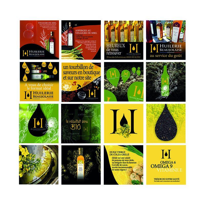 Créations de visuels pour le compte instagram de l'Huilerie Beaujolaise. Graphisme et Community Management à Mâcon