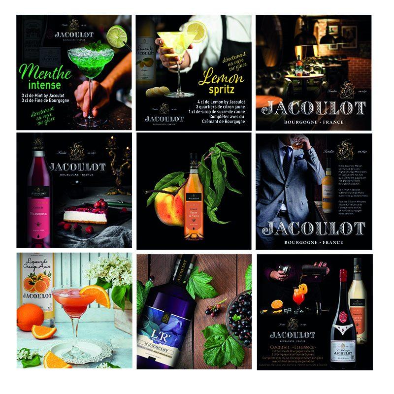 Création de visuels pour Instagram pour la marque de spiritueux Jacoulot. Graphisme et Community Management à Mâcon