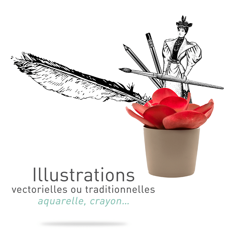 Réalisation d'illustrations vectorielles ou traditionnelles, à l'aquarelle ou au crayon à l'agence Le P'tit Zèbre Communication à Mâcon