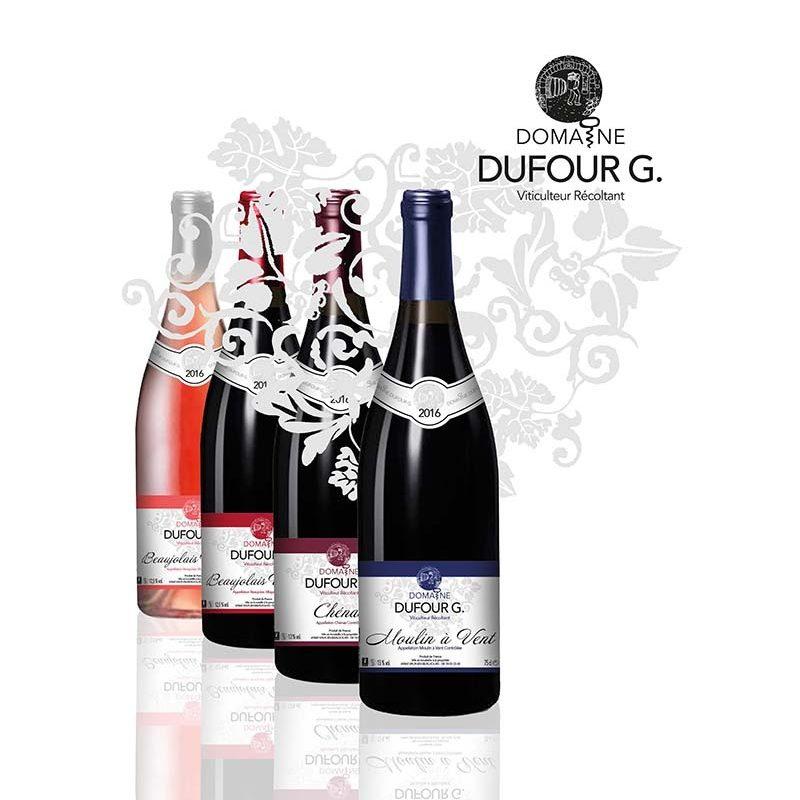 Présentation de différentes bouteilels et étiquettes de vin pour le domaine Dufour G