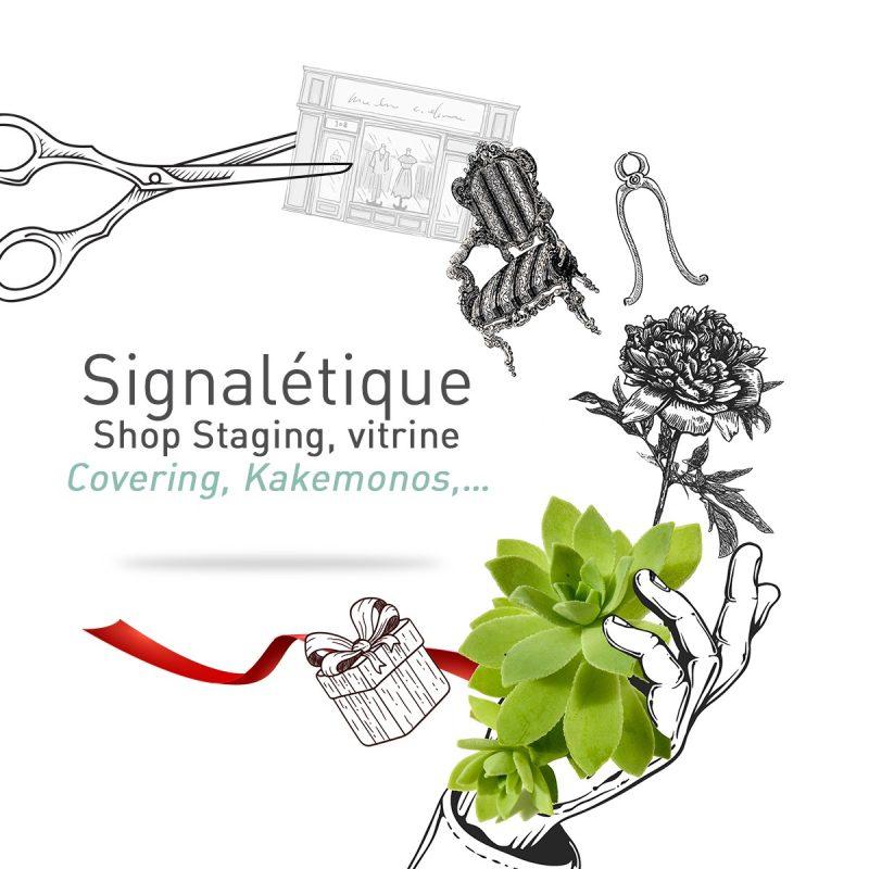 Signalétique à Mâcon shop staging, vitrine, covering, kakémonos par l'agence Le P'tit Zèbre Communication
