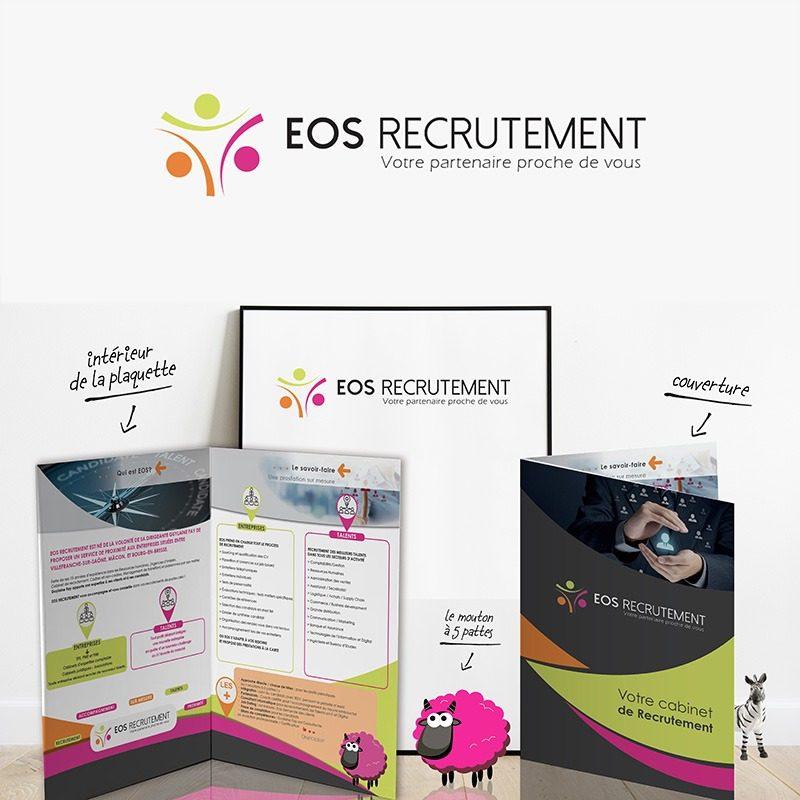 Réalisation de pochettes à rabats de présentation pour l'entreprise EOS recrutement à Mâcon