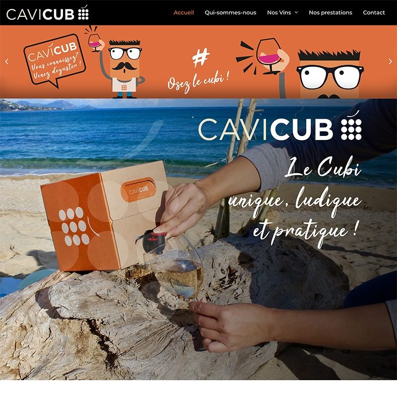 Création du site internet de la marque de bag-in-box Cavicub à Mâcon. Graphisme et Webdesign