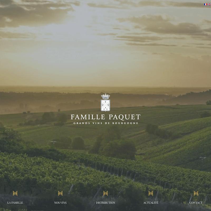 Création du site internet des vins famille Paquet. Web design et graphisme à Mâcon