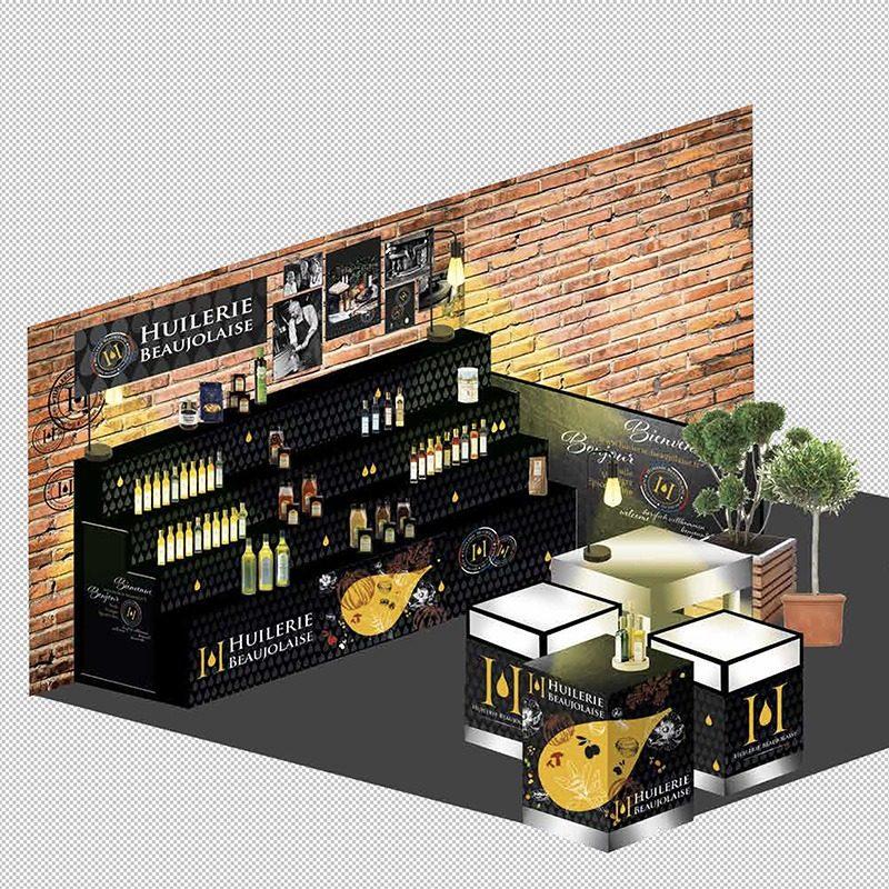 Réalisation et projection 3D d'un stand Huilerie